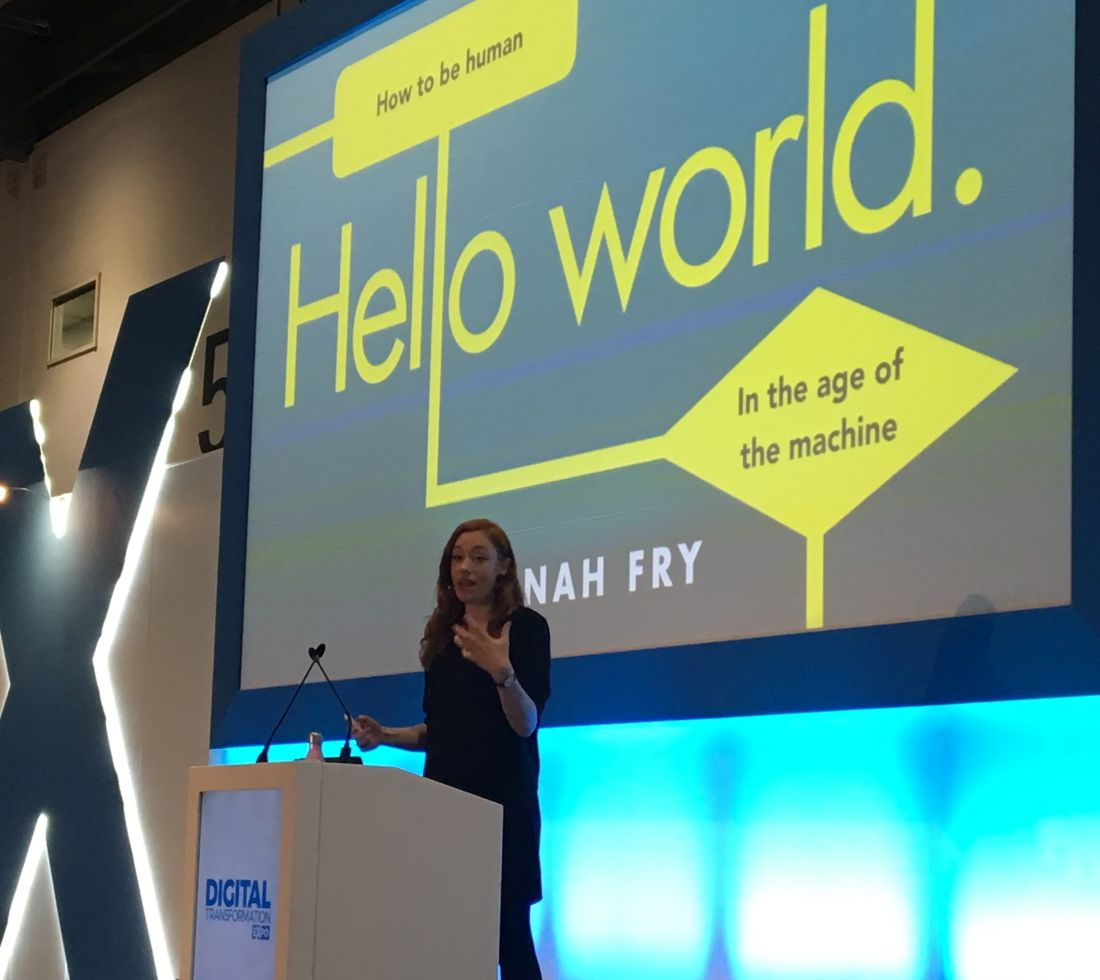 Hannah Fry, speaking at IPExpo 2018